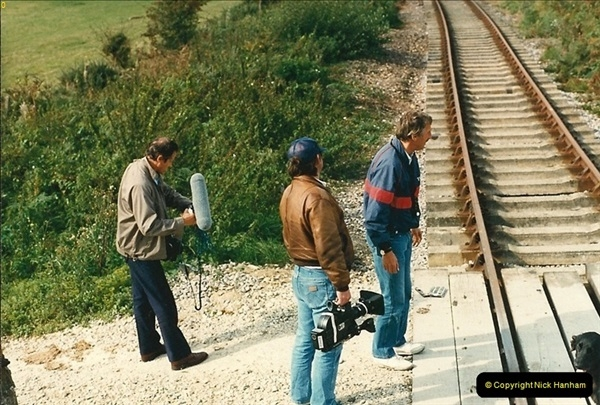 1987-09-30 Your Host driving a special film unitb train. This was the first passenger train to Quarr Farm Crossing.  (23)0531