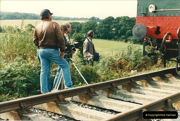 1987-09-30 Your Host driving a special film unitb train. This was the first passenger train to Quarr Farm Crossing.  (24)0532