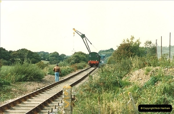 1987-09-30 Your Host driving a special film unitb train. This was the first passenger train to Quarr Farm Crossing.  (25)0533