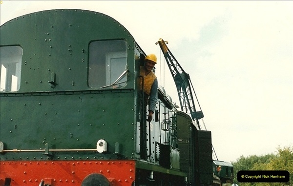 1987-09-30 Your Host driving a special film unitb train. This was the first passenger train to Quarr Farm Crossing.  (26)0534