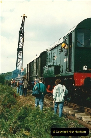 1987-09-30 Your Host driving a special film unitb train. This was the first passenger train to Quarr Farm Crossing.  (28)0536