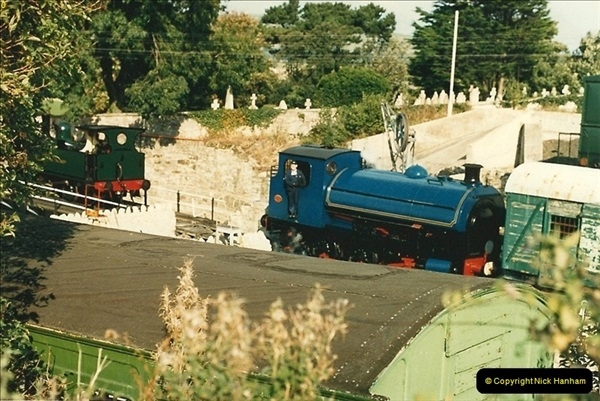 1987-09-30 Your Host driving a special film unitb train. This was the first passenger train to Quarr Farm Crossing.  (4)0512