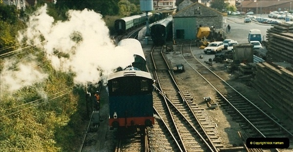 1987-09-30 Your Host driving a special film unitb train. This was the first passenger train to Quarr Farm Crossing.  (8)0516