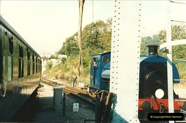 1987-09-30 Your Host driving a special film unitb train. This was the first passenger train to Quarr Farm Crossing.  (9)0517