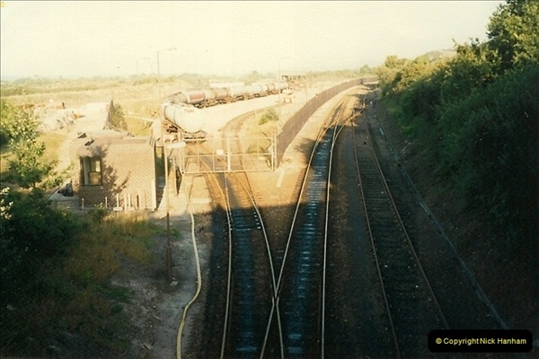 1988-07-23 Fursbrook. Oil terminal at left and stub to right. The SR are working towards this stub so as to run Swanage to Wareham.0584