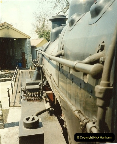 1989-04-28 Ivatt 46443 arrive at Swanage for the Summer Season.  (11)0635