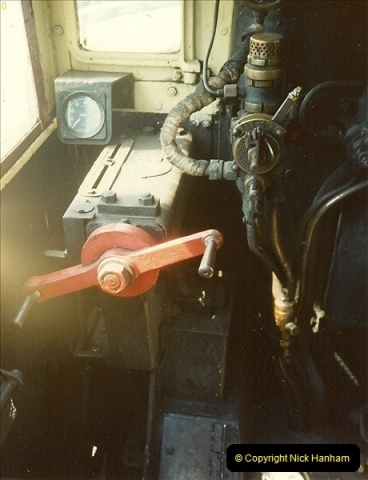 1989-04-28 Ivatt 46443 arrive at Swanage for the Summer Season.  (6)0630