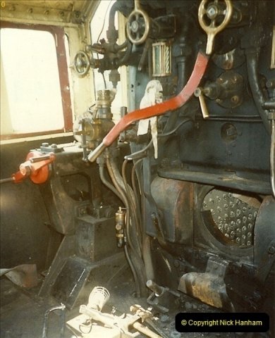 1989-04-28 Ivatt 46443 arrive at Swanage for the Summer Season.  (7)0631