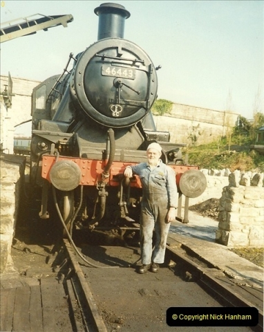 1989-04-28 Ivatt 46443 arrive at Swanage for the Summer Season.  (8)0632