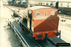 1985-05-06 Cunarder is the first locomotive to use the new turntable @ Swanage. Your Host firing.  (1)0282