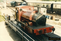 1985-05-06 Cunarder is the first locomotive to use the new turntable @ Swanage. Your Host firing.  (4)0283