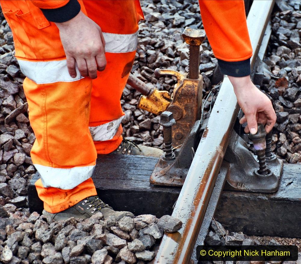 2020-01-31 SR Miscellany. (52) Corfe Castle School Crossing spot sleeper replacement. 052