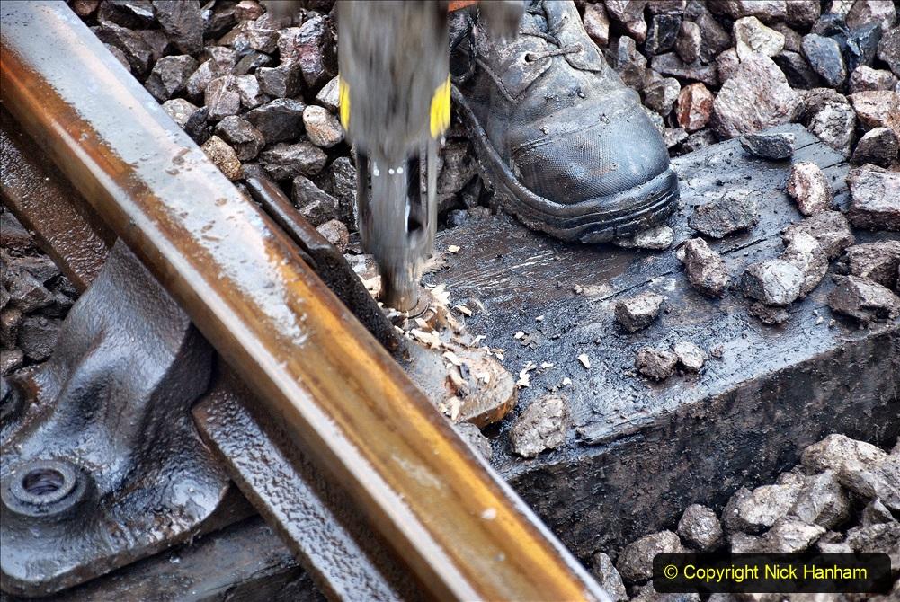2020-01-31 SR Miscellany. (77) Corfe Castle School Crossing spot sleeper replacement. 077
