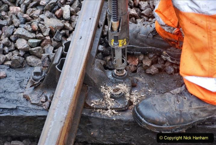 2020-01-31 SR Miscellany. (76) Corfe Castle School Crossing spot sleeper replacement. 076