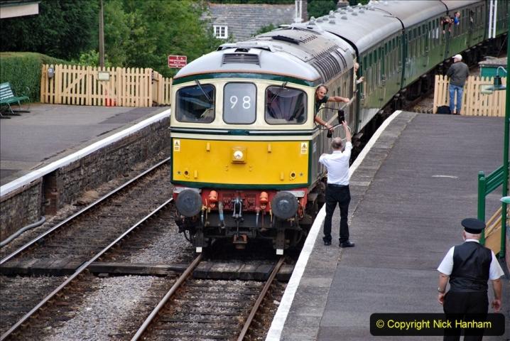 2020-07-11 SR runs it's first train since lockdown. (100) First down train Norden to Swanage. 100