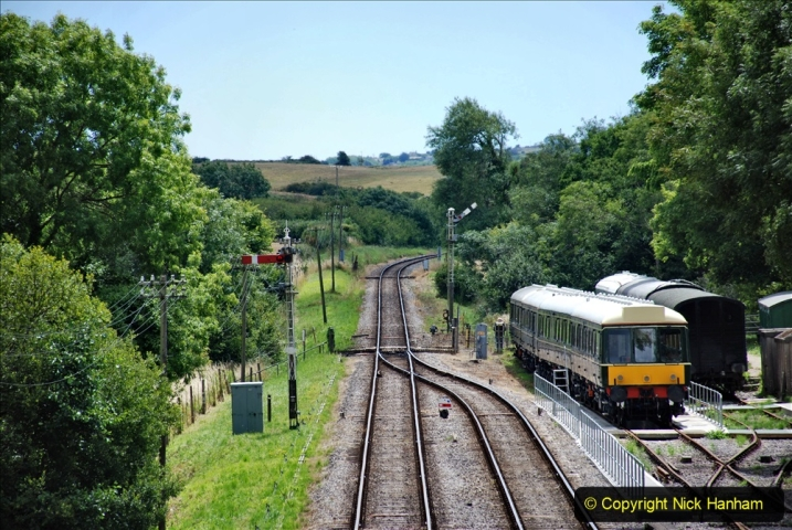 2020-07-11 SR runs it's first train since lockdown. (114) Second up train, Noon off Swanage, at Corfe Castle. 114