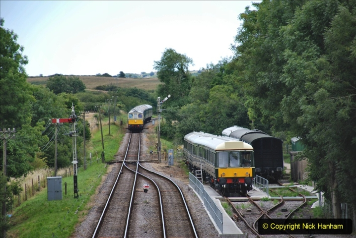 2020-07-11 SR runs it's first train since lockdown. (115) Second up train, Noon off Swanage, at Corfe Castle. 115