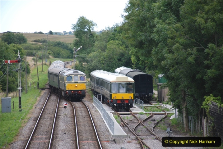 2020-07-11 SR runs it's first train since lockdown. (116) Second up train, Noon off Swanage, at Corfe Castle. 116