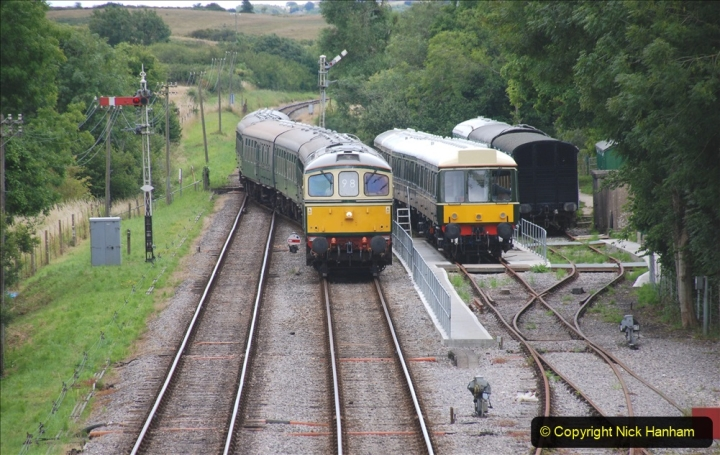 2020-07-11 SR runs it's first train since lockdown. (117) Second up train, Noon off Swanage, at Corfe Castle. 117