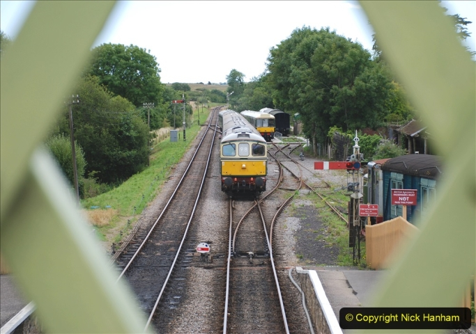 2020-07-11 SR runs it's first train since lockdown. (118) Second up train, Noon off Swanage, at Corfe Castle. 118