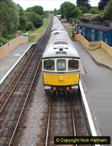 2020-07-11 SR runs it's first train since lockdown. (119) Second up train, Noon off Swanage, at Corfe Castle. 119