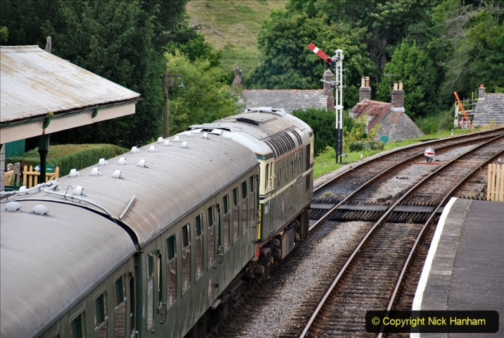 2020-07-11 SR runs it's first train since lockdown. (121) Second up train, Noon off Swanage, at Corfe Castle. 121