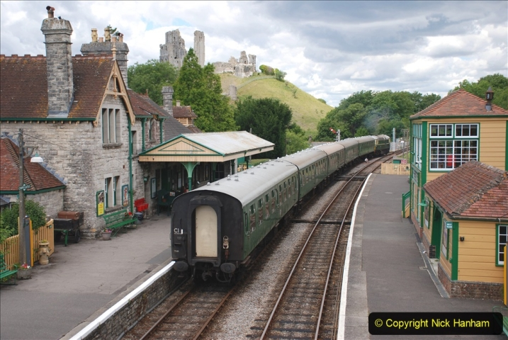 2020-07-11 SR runs it's first train since lockdown. (123) Second up train, Noon off Swanage, at Corfe Castle. 123