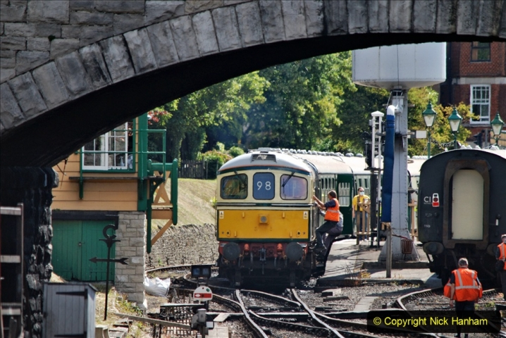 2020-07-11 SR runs it's first train since lockdown. (80) First up train leave Swanage at 1030.  080