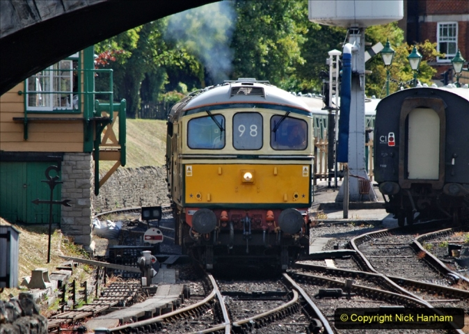2020-07-11 SR runs it's first train since lockdown. (82) First up train leave Swanage at 1030.  082