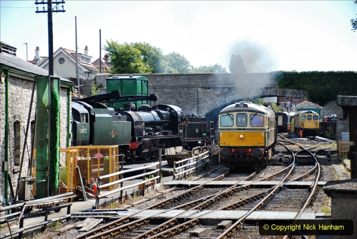 2020-07-11 SR runs it's first train since lockdown. (83) First up train leave Swanage at 1030.  083