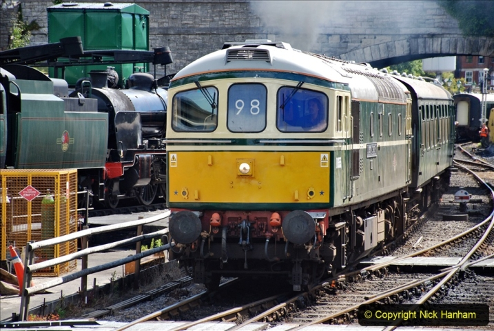 2020-07-11 SR runs it's first train since lockdown. (84) First up train leave Swanage at 1030.  084
