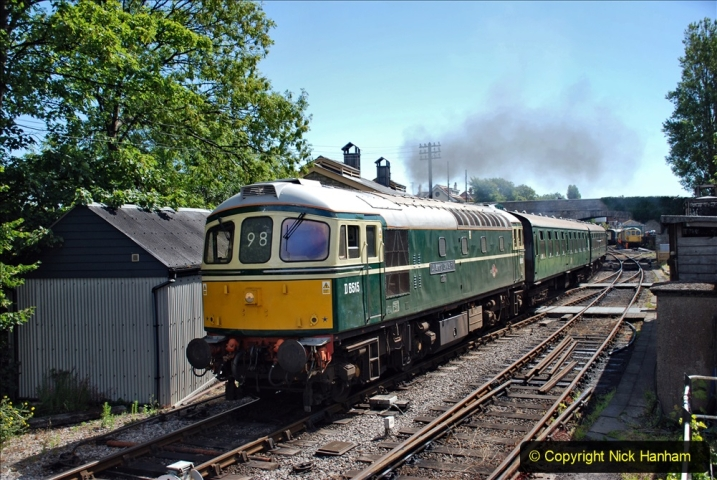 2020-07-11 SR runs it's first train since lockdown. (85) First up train leave Swanage at 1030.  085