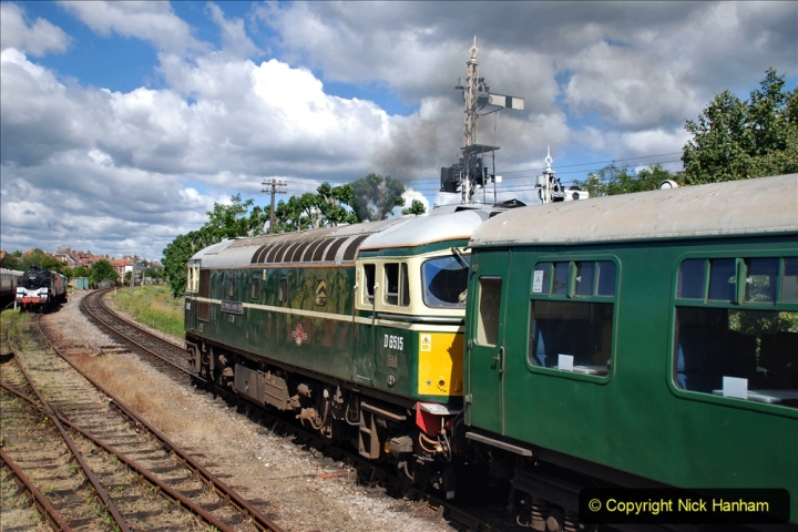 2020-07-11 SR runs it's first train since lockdown. (86) First up train leave Swanage at 1030.  086