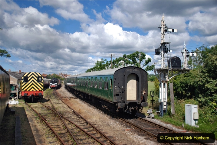 2020-07-11 SR runs it's first train since lockdown. (87) First up train leave Swanage at 1030.  087