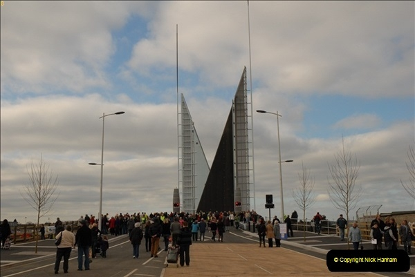 2012-02-25 Poole Twin Sails Bridge first day open to the public. (No Vehicles) (25)080