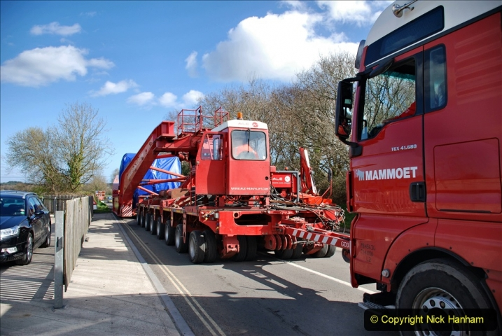 2020-03-16 The Swanage Railway. (122) Very large load for Wytch Farm Oil Terminal crossing Norden Gates. 122