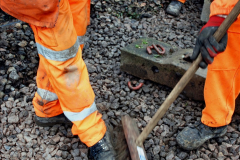 2020-01-08 Track renewal Cowpat Crossing to just beyond Dickers Crossing. (138) Barry gets a shoe shine. 138