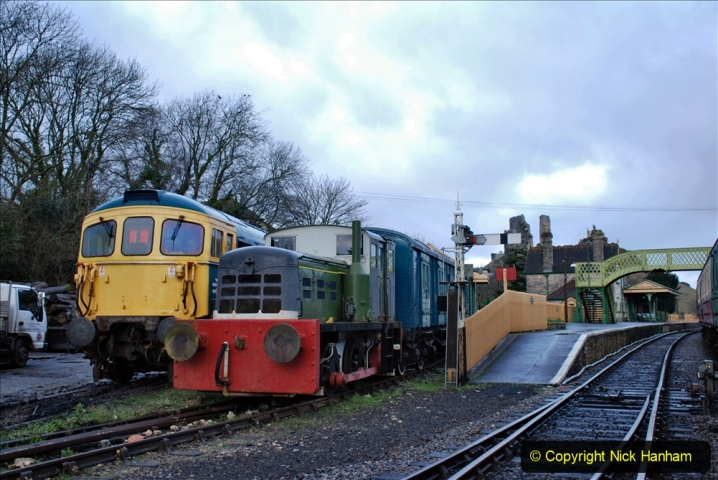 2020-01-17 Track renewal Cowpat Crossing to just past Dickers Crossing. (1) Corfe Castle. 1