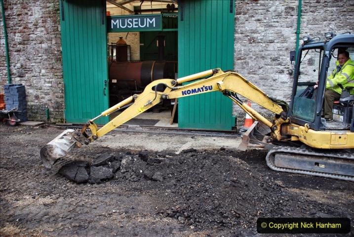 2020-01-24 Track renewall Cowpat Crossing to just past Dickers Crossing. (110) Corfe Castle new yard work. 110