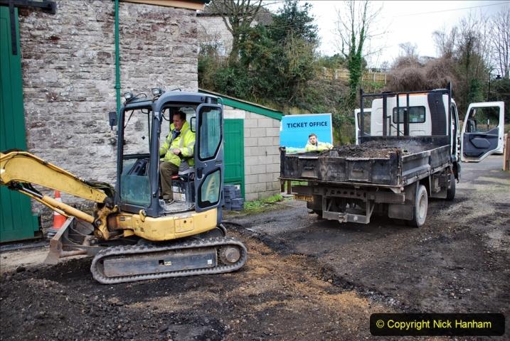 2020-01-24 Track renewall Cowpat Crossing to just past Dickers Crossing. (111) Corfe Castle new yard work. 111