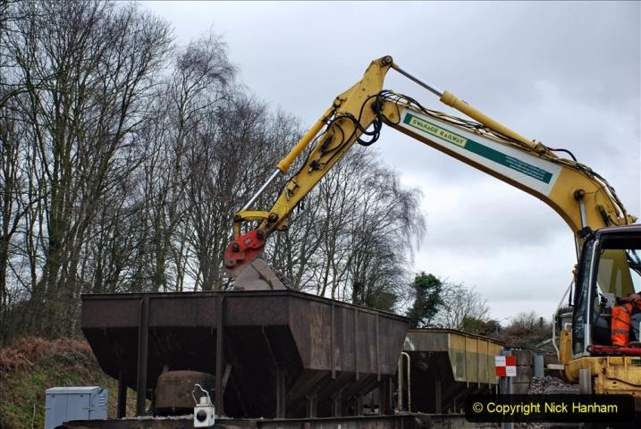 2020-01-24 Track renewall Cowpat Crossing to just past Dickers Crossing. (141) Ballast work. 141