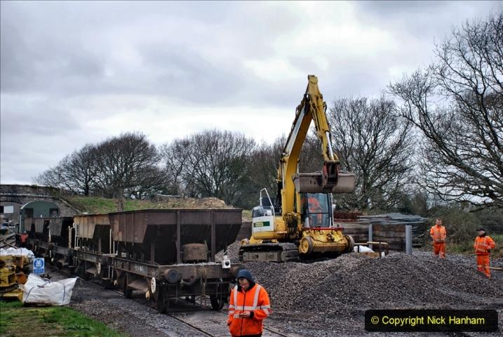 2020-01-24 Track renewall Cowpat Crossing to just past Dickers Crossing. (147) Ballast work. 147