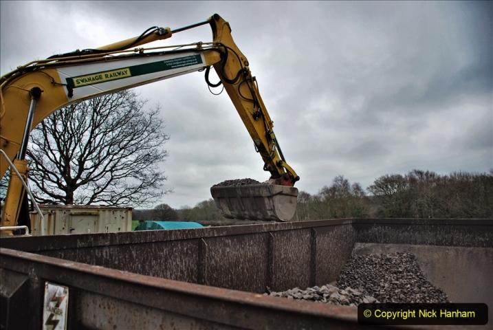 2020-01-24 Track renewall Cowpat Crossing to just past Dickers Crossing. (151) Ballast work. 151