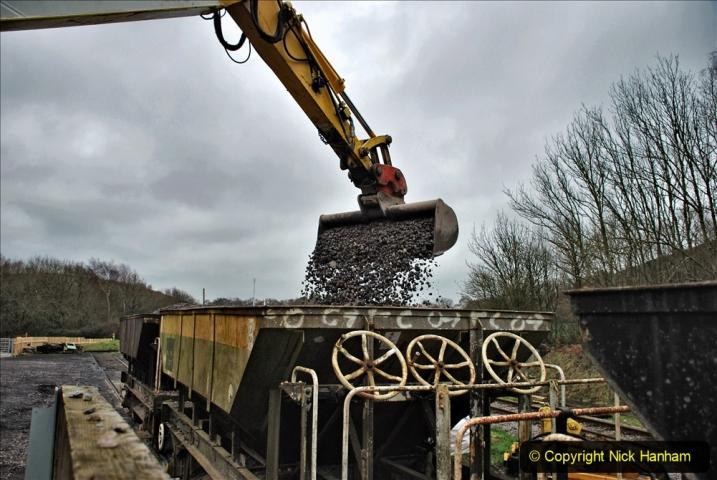 2020-01-24 Track renewall Cowpat Crossing to just past Dickers Crossing. (157) Ballast work. 157