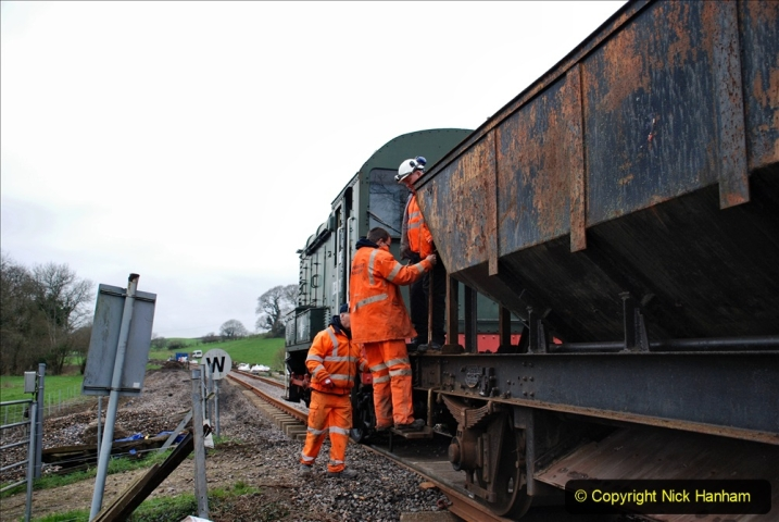 2020-01-24 Track renewall Cowpat Crossing to just past Dickers Crossing. (33) Ballast work. 033