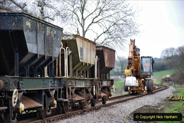 2020-01-24 Track renewall Cowpat Crossing to just past Dickers Crossing. (34) Ballast work. 034