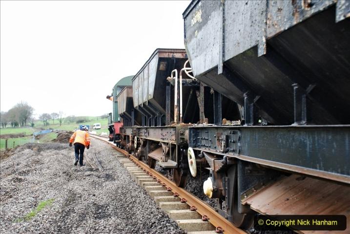 2020-01-24 Track renewall Cowpat Crossing to just past Dickers Crossing. (38) Ballast work. 038