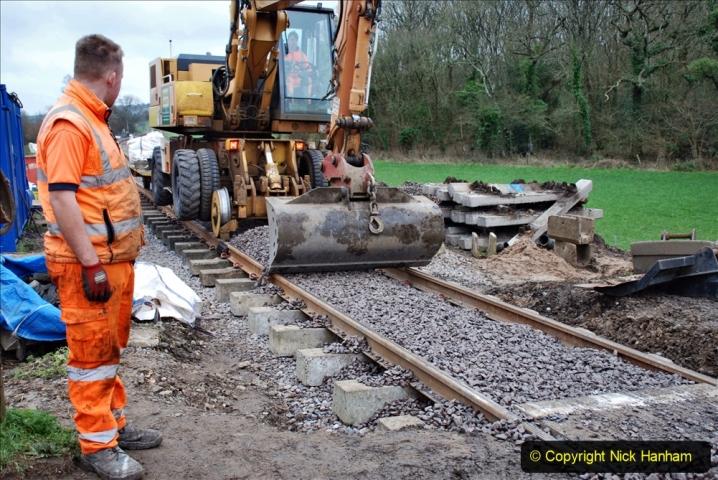 2020-01-24 Track renewall Cowpat Crossing to just past Dickers Crossing. (72) Ballast work. 072