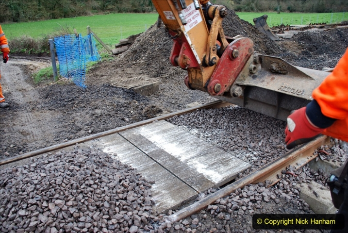 2020-01-24 Track renewall Cowpat Crossing to just past Dickers Crossing. (74) Ballast work. 074