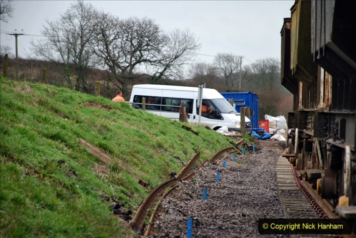 2020-01-24 Track renewall Cowpat Crossing to just past Dickers Crossing. (76) Ballast work. 076